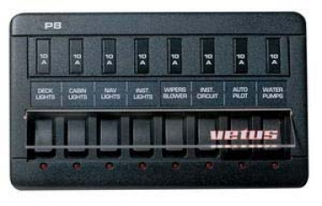 Vetus sigorta paneli. Tip P8. 8 adet elektronik sigortalı.