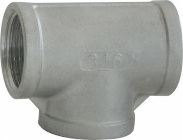 Dişli Tee. Dişi-Dişi. AISI 316 Paslanmaz çelik.