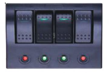 4'lü Switch Panel - C.S Otomatik Sigortalı ve Işıklı En: 100 mm Boy: 130 mm