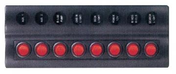 8'li Switch Panel - A.S Otomatik Sigortalı ve Işıklı Ölçüler: 90 mm x 230 mm