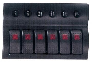 6'li Switch Panel - B.S Otomatik Sigortalı ve Işıklı Ölçüler: 90 mm x 180 mm
