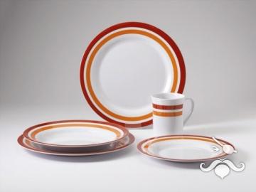 Promo-Line Red rings, 16 parça melamin yemek takımı