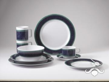 High-Line Marble Blue, 20 parça melamin yemek takımı