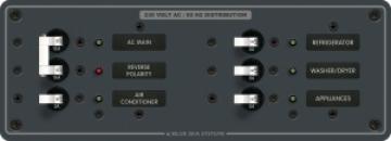 A.C. Ana+4 pozisyonlu sigorta paneli 230V AC. 93mmx267mm. 30 AC etiket.